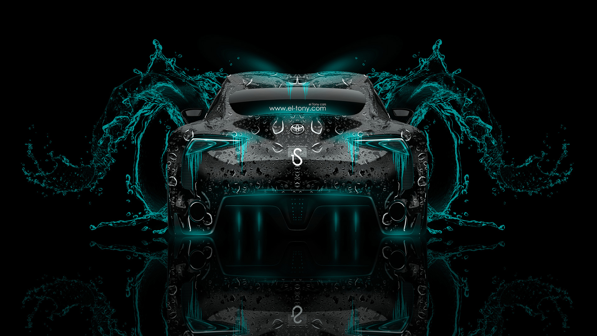 Toyota FT 1 Back Azure Neon Water Abstract  ...