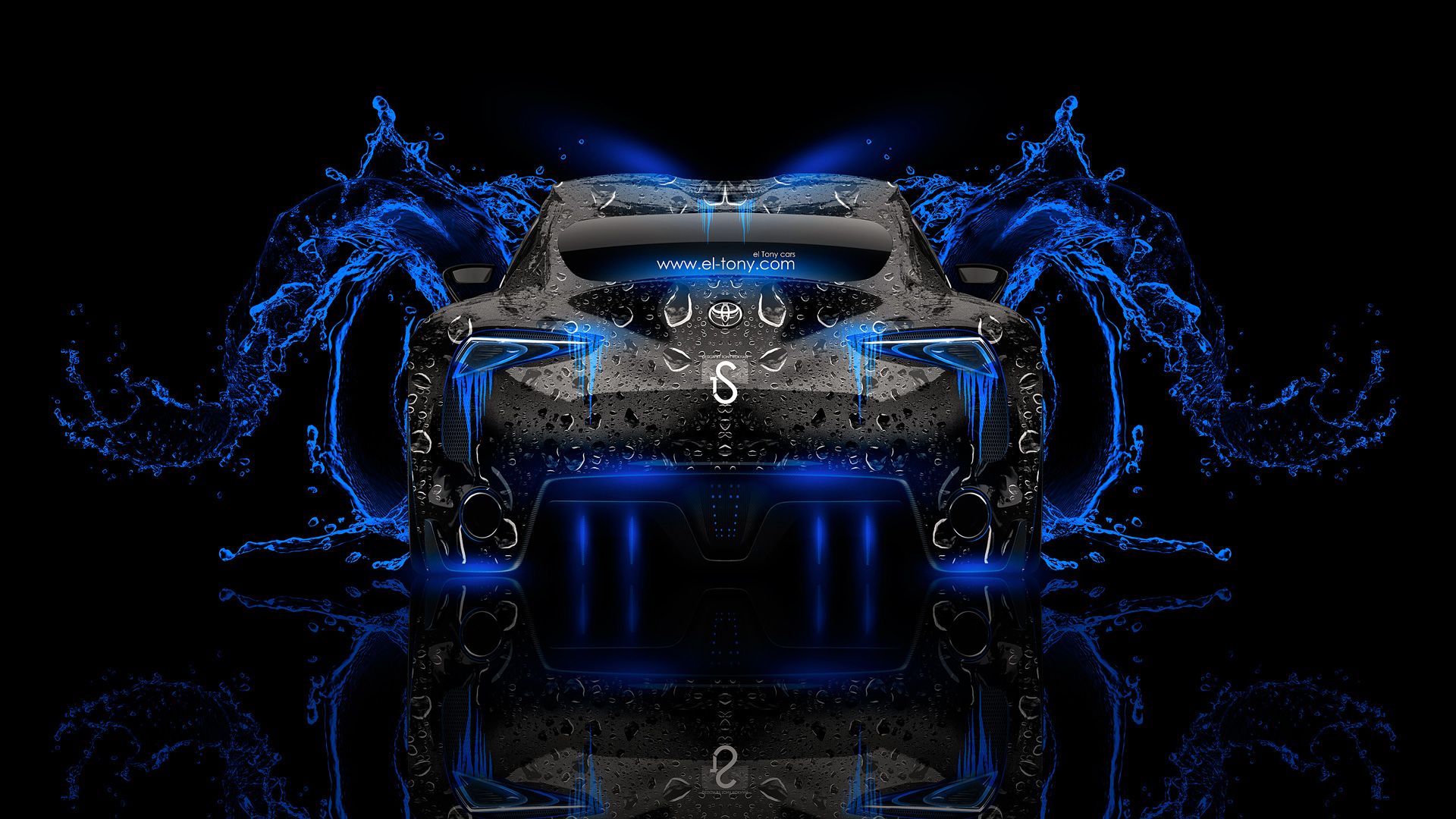 Elegant ... Toyota FT 1 Back Blue Neon Water Abstract  ...
